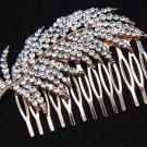 Bridal Wedding Feather Leaf Rhinestone Crystal Rose Gold Tone Hair Comb