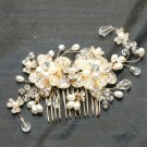 GOLD FLOWER BRIDAL WEDDING BRIDES PEARL RHINESTONE CRYSTAL TIARA HAIR COMB - CA