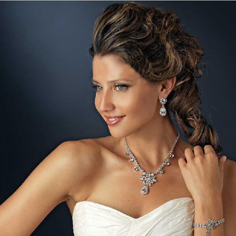 Wedding Rhinestone Crystal Teardrop Dangle Necklace & Earrings Set