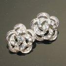Lot of 4 Wedding Bridal Wrap Flower Rose Rhinestone Crystal Floral Shank Button