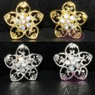 Lot of 4 Vintage Style Five Petals Flower Rhinestone Crystal Shank Buttons DIY