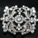 Vintage Style Motif Rhinestone Crystal Large Ribbon Slider Sash Belt Buckle