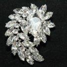 Wedding Bridal Dress Large Teardrop Austria Rhinestone Crystal Spiral Brooch Bin