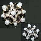 RHINESTONE CRYSTAL PEARL BRIDAL WEDDING DRESS HAIR DIY CRAFT BROOCH PIN