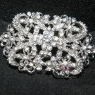 Lot of 2 Classic Vintage Style Rhinestone Crystal Wedding Loops Back Buckle DIY