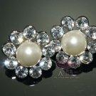 Lot of 6 Rhinestone Crystal Faux Pearl Wedding Bridal Sun Flower Shank Buttons