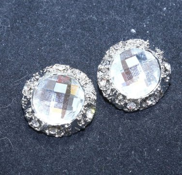 Lot of 4 Simple Large Rhinestone Crystal Wedding Bridal Round Shank Buttons DIY