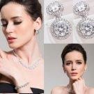 Wedding Bridal Platinum Plated Dangle Round Zircon Crystal Stud Earrings