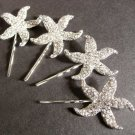 Lot of 4 Starfish Bridal Wedding Bridesmaids Rhinestone Crystal Hair Bobby Clip