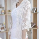 WEDDING BRIDAL ELEGANT LACE EMBROIDERY BUTTERFLY CREAM WHITE JACKET OUTERWEAR