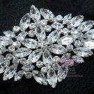 ALL GLASS BLING BRIDAL WEDDING RHINESTONE CRYSTAL RHOMBUS BROOCH PIN -CA