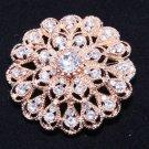 Crystal Rhinestone Rose Gold Tone Floral Round Wedding Bridal Brooch Pin