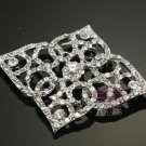 BRIDAL WEDDING RHINESTONE CRYSTAL RHOMBUS BELT SASH DRESS VINTAGE BROOCH PIN-CA
