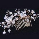 Bridal Wedding Faux Pearl Flower Rhinestone Crystal Gold Hair Comb