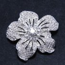 Clear Crystal Rhinestone Silver Tone Flower Fashion Design Pin Brooch