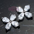 Lot of 6 Pear Austria Rhinestone Crystal Petals Small Flower Sew Beads Flat Back