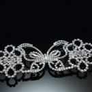 Vintage Style Butterfly Rhinestone Crystal Wedding Bridal Ribbon Slider Buckle