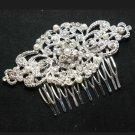 Lot of 4 Wedding Bridal Rhinestone Crystal Faux Pearl Silver Rhombus Hair Comb