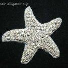 BEACH SEA STAR STARFISH CRYSTAL RHINESTONE WEDDING HAIR ALLIGATOR CLIP -CA