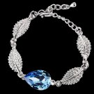 BLUE RHINESTONE CRYSTAL WEDDING BRIDAL LEAF CHAIN BRACELET