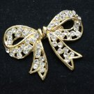 Gold Tone Butterfly Bow Rhinestone Crystal Buckle Closure Hook and Eye Clasp DIY