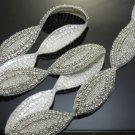 BEADED GLASS CRYSTAL RHINESTONE WEDDING CRAFT SASH OVAL TRIM APPLIQUE -CA