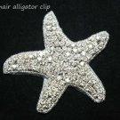 BEACH SEA STAR STARFISH CRYSTAL RHINESTONE WEDDING HAIR ALLIGATOR CLIP -EU