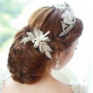 Faux Pearl Ivory Off White Ribbon Wedding Bridal Vintage Style Leaf Hair Clip