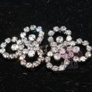 Lot of 3 Rhinestone Crystal Flower Ribbon Belt Sweater Buckle Hook and Eye Clasp