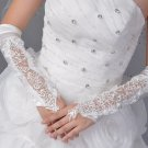 IVORY LACE SEQUIN BRIDES WEDDING SATIN FINGERLESS FAUX PEARLS ELBOW GLOVES