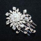 Lot of 4 Flower Bridal Wedding Bride Rhinestone Crystal  Snow Hair Comb