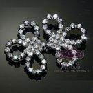 Rhinestone Crystal Flower Wedding Shrug Buckle Closure Hook and Eye Clasp  (L)