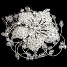 BRIDESMAIDS FlOWER WEDDING BRIDAL RHINESTONE CRYSTAL HAIR TIARA COMB -CA
