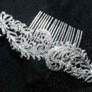 Bridal Wedding Feather Silver Rhinestone Crystal Tiara Hair Comb