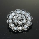 CRYSTAL RHINESTONE FLOWER ROUND BRIDAL WEDDING BROOCH PIN