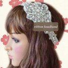 Faux Pearl Rhinestone Crystal Wedding Ribbon Applique White Ribbon Headband - CA
