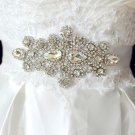TEARDROP CRYSTAL RHINESTONE WEDDING RIBBON APPLIQUE SASH BELT -CA