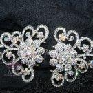 Lot of 3 Vintage Style Motif Wedding AB Rhinestone Crystal Hook and Eye Clasp