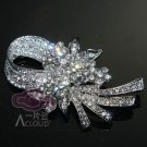VINTAGE STYLE BRIDAL WEDDING RHINESTONE CRYSTAL HAIR DRESS BROOCH PIN -CA