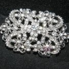 CLEAR RHINESTONE CRYSTALS VINTAGE STYLE RIBBON DRESS SASH BROOCH PIN -CA