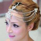 WEDDING BRIDAL BIG FLOWER STAR BEADED RHINESTONE CRYSTAL HAIR CHAIN CLIP -CA