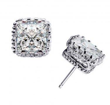 Wedding Groom Rhombus Square Zircon Crystal Silver Tone Crown Stud Earrings