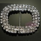 Round Rectangle Rhinestone Crystal Silver Tone Ribbon Slider Sash Belt Buckle