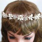 Ivory Pearls Beads GoldFlower Tiara Rhinestone Crystal Hair Headband