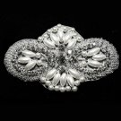 """Lot Of 4 Large Beaded Crystal Rhinestone Wedding Faux Pearl Craft Applique 4"""""""