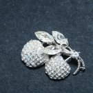 Clear Cherry Corsage Coat Fruit Rhinestone Crystal Brooch Pin