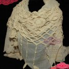 VINTAGE STYLE WOMAN SHRUG KNITTING CROCHET LACE STOLE WRAP SCARF SHAWL -CA
