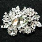 Wedding Bridal Dress Sash Large Oval Czech Rhinestone Crystal Elegant Brooch Pin