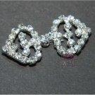 Two Hearts Rhinestone Crystal Wedding Bridal Wrap Closure Hook and Eye Clasp DIY