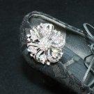 Vintage Style Floral Aurora Borealis AB Crystal Rhinestone Shoe Clips Pair